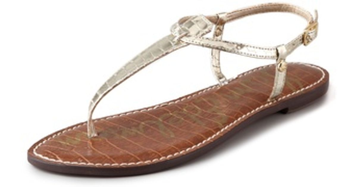 46c14ba3341449 Lyst - Sam Edelman Gigi T Strap Flat Sandals in Metallic