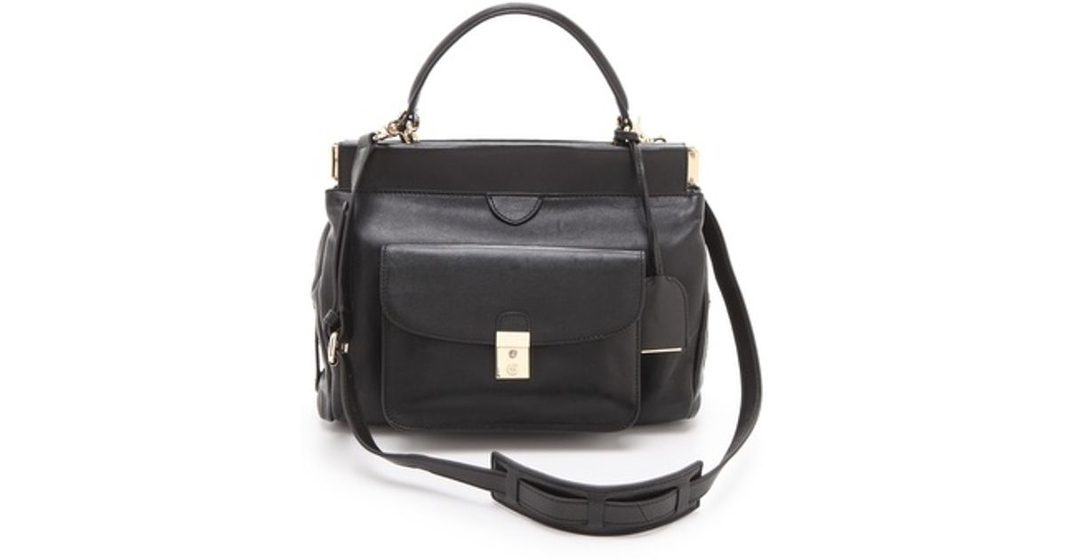 11ac38105a8b Lyst - Tory Burch Priscilla Small Frame Satchel in Black