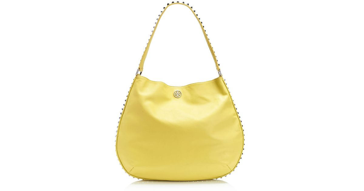 7dc99d4cd16e Tory Burch Pyramid Stud Hobo in Yellow - Lyst