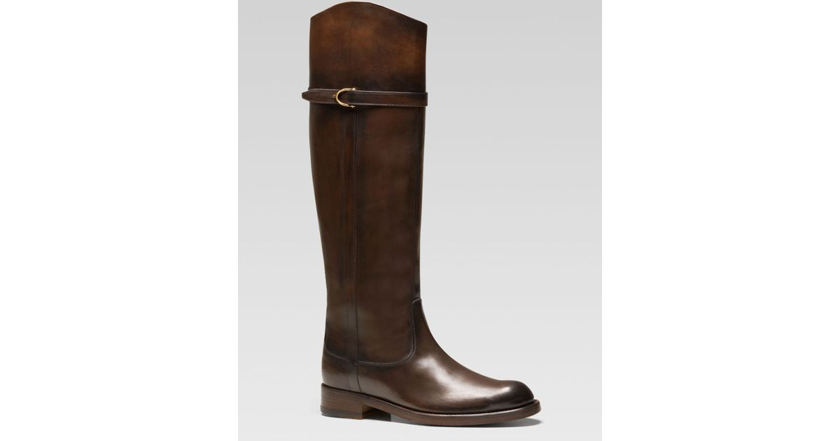 6669f9eae Lyst - Gucci Eleonora Riding Boot in Brown