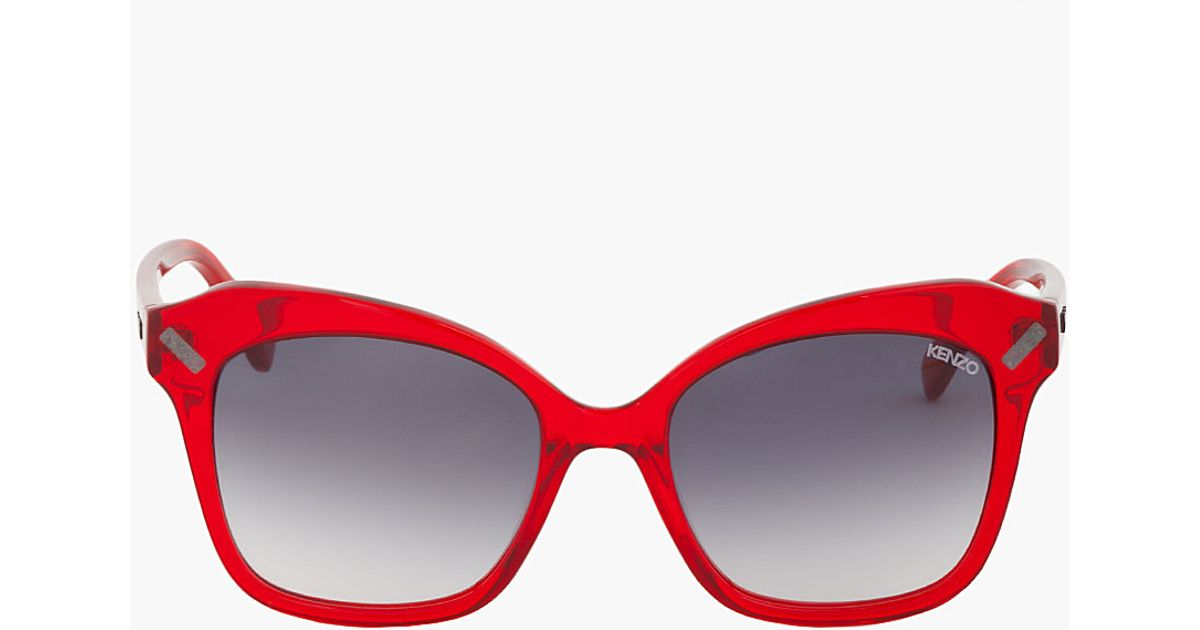 806c72e81240 Lyst kenzo red translucent horn rimmed sunglasses in red jpg 1200x630 Red  rimmed glasses