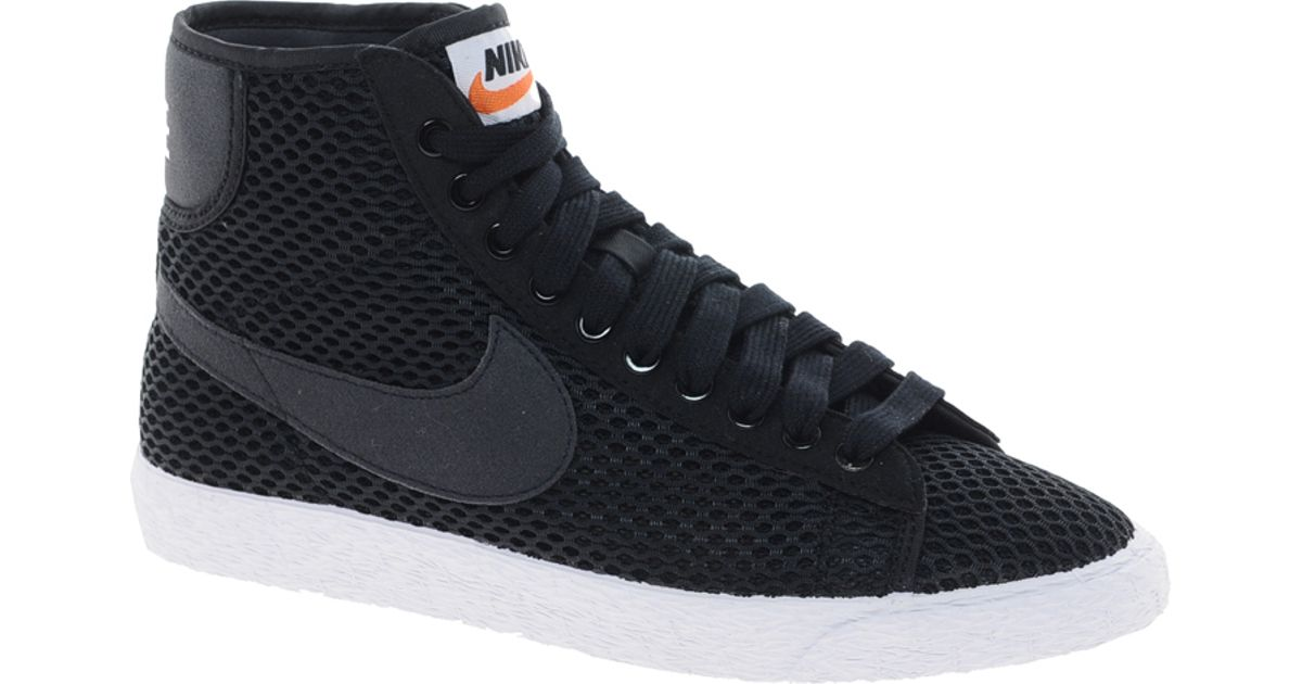 the best attitude d1be6 04b27 Nike Blazer Mid Mesh Black High Top Trainers in Black - Lyst