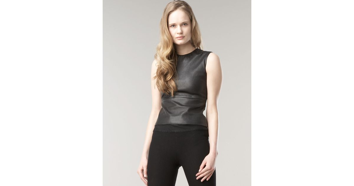 9572ed53c00e The Row Gilmore Leather Top in Black - Lyst