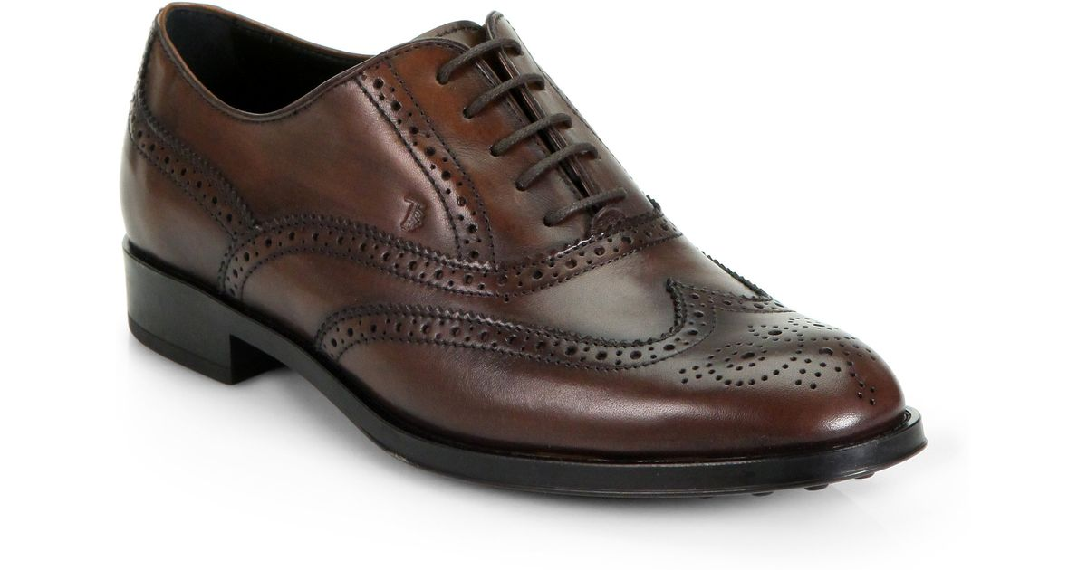 056325f002 Tod's Leather Wingtip Brogues in Brown for Men - Lyst