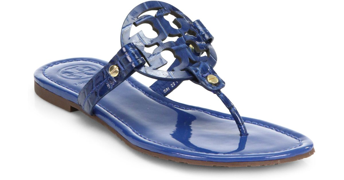 1a19eac2332 Lyst - Tory Burch Miller Crocodileembossed Patent Leather Sandals in Blue
