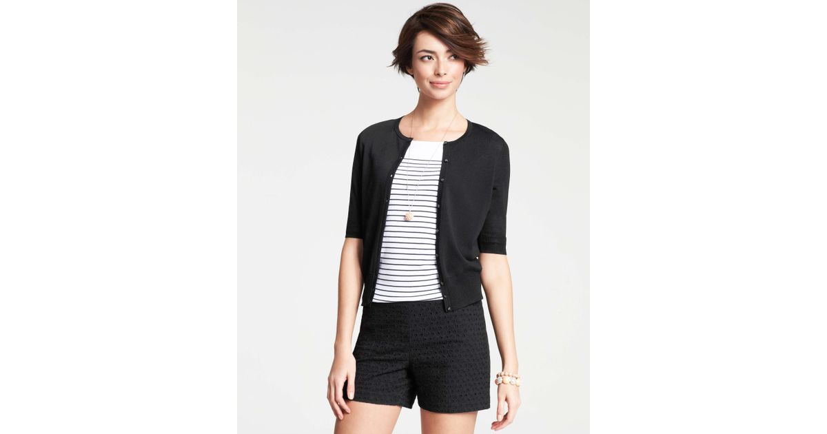 Ann taylor Crew Neck Short Sleeve Cardigan in Black | Lyst