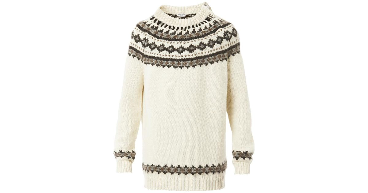 Saint laurent Fair Isle Knit Over Sized Sweater in White | Lyst