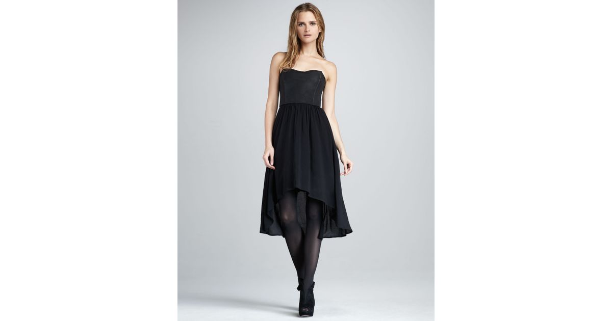 Black Strapless High Low Dress