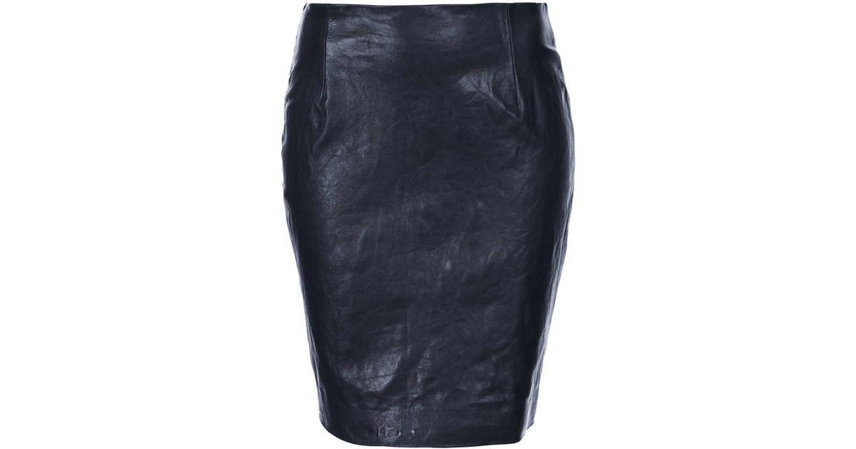 topshop leather pencil skirt by boutique in blue navy