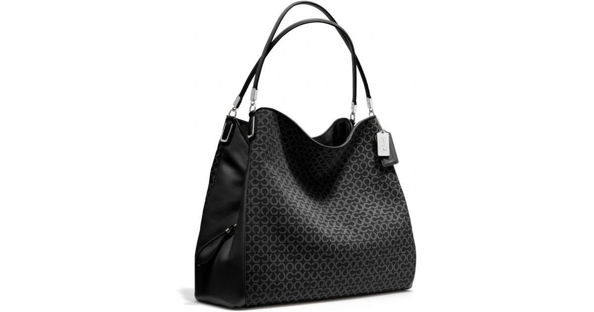 Lyst Coach Madison Phoebe Shoulder Bag In Needlepoint Op Art Fabric Black