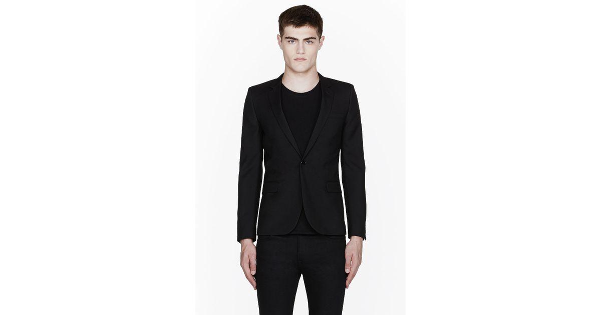 f1b6a012d39 Saint Laurent Black Classic One Button Blazer in Black for Men - Lyst