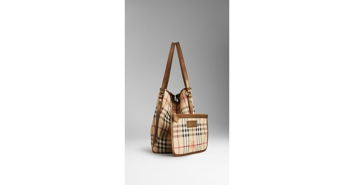 96187419216b Lyst - Burberry Small Haymarket Check Tote Bag in Brown