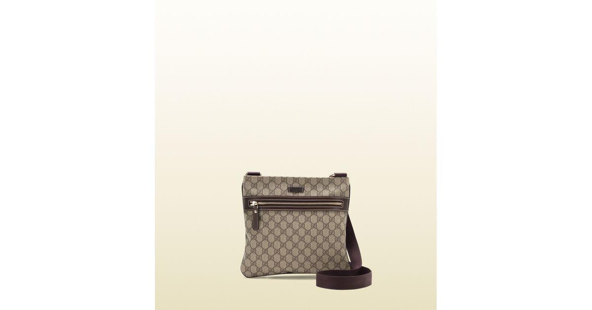 1404b229e481 Gucci Gg Supreme Flat Messenger Bag in Gray - Lyst