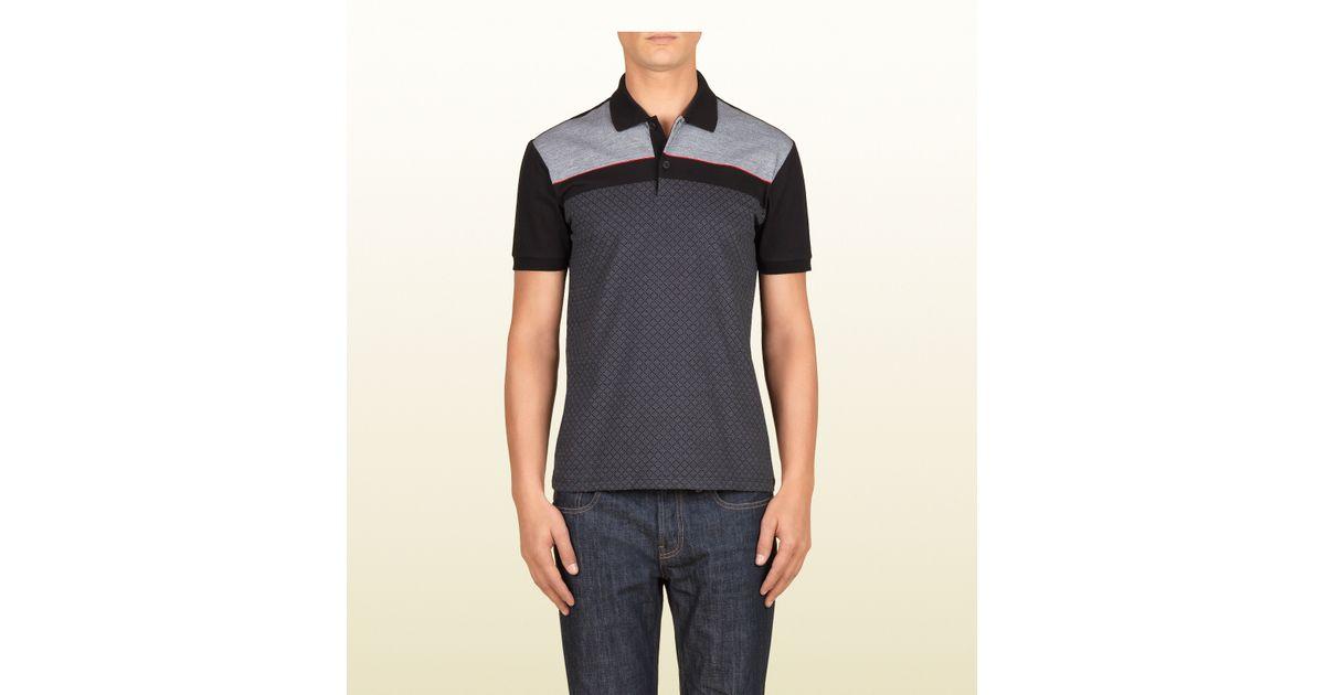 257e0936f Gucci Black and Grey Cotton Diamante Jacquard Polo in Black for Men - Lyst