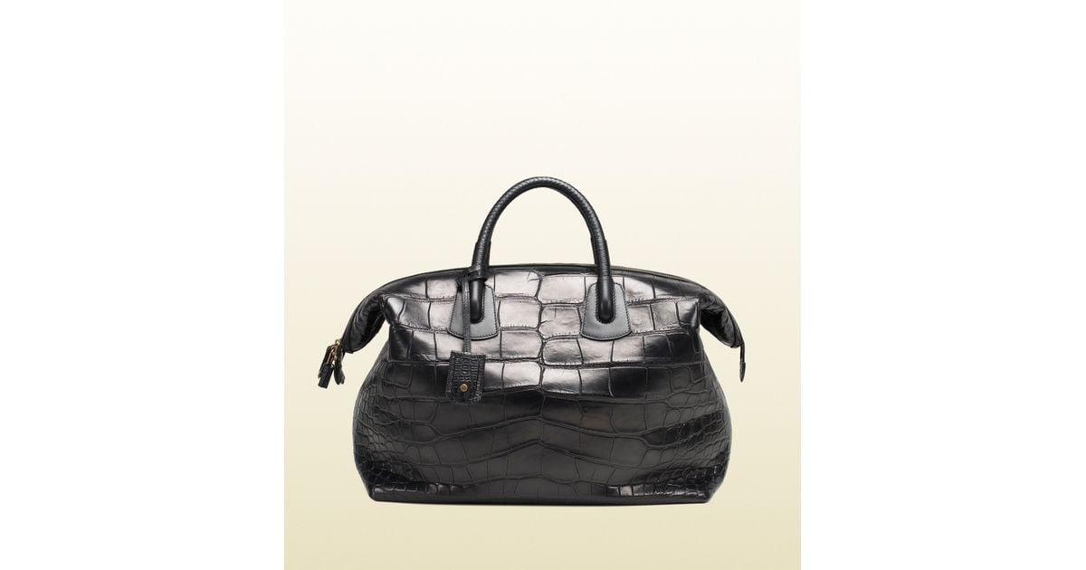 Lyst - Gucci Black Crocodile Carryon Duffle Bag in Black for Men 19f19af151d51