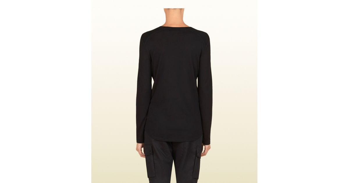 36558f74 Gucci Women's Black Silk Jersey Long Sleeve T-shirt From Viaggio Collection  in Black for Men - Lyst