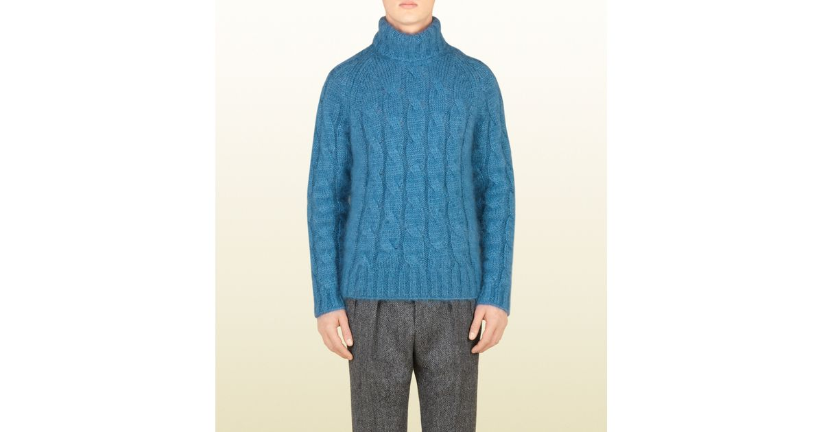 Gucci Blue Cable Knit Turtleneck Sweater in Blue for Men | Lyst