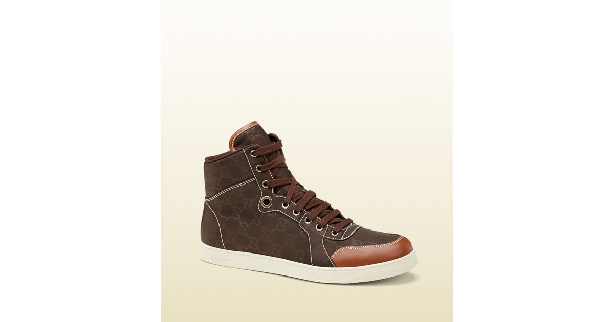 a54673bab1d Gucci Brown Nylon Guccissima Hightop Sneaker in Brown for Men - Lyst