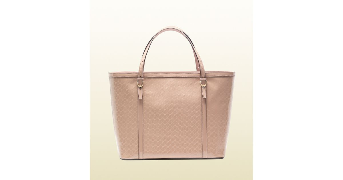 fc44295d478 Lyst - Gucci Nice Microssima Glossy Patent Leather Tote in Pink