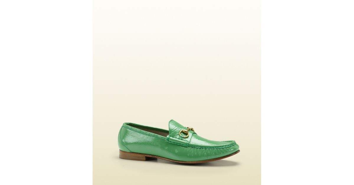 8b0f2de628f Gucci Horsebit Loafer in Patent Leather in Green for Men - Lyst