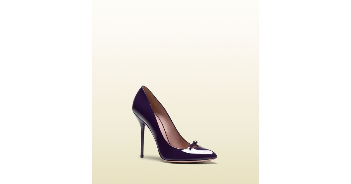 1fe2c922c6e Lyst - Gucci Beverly Patent Leather High Heel Pump in Purple