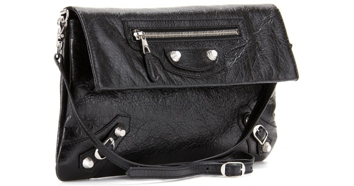 70b3131ae4 Lyst - Balenciaga Giant 12 Leather Envelope Clutch with Shoulder Strap in  Black