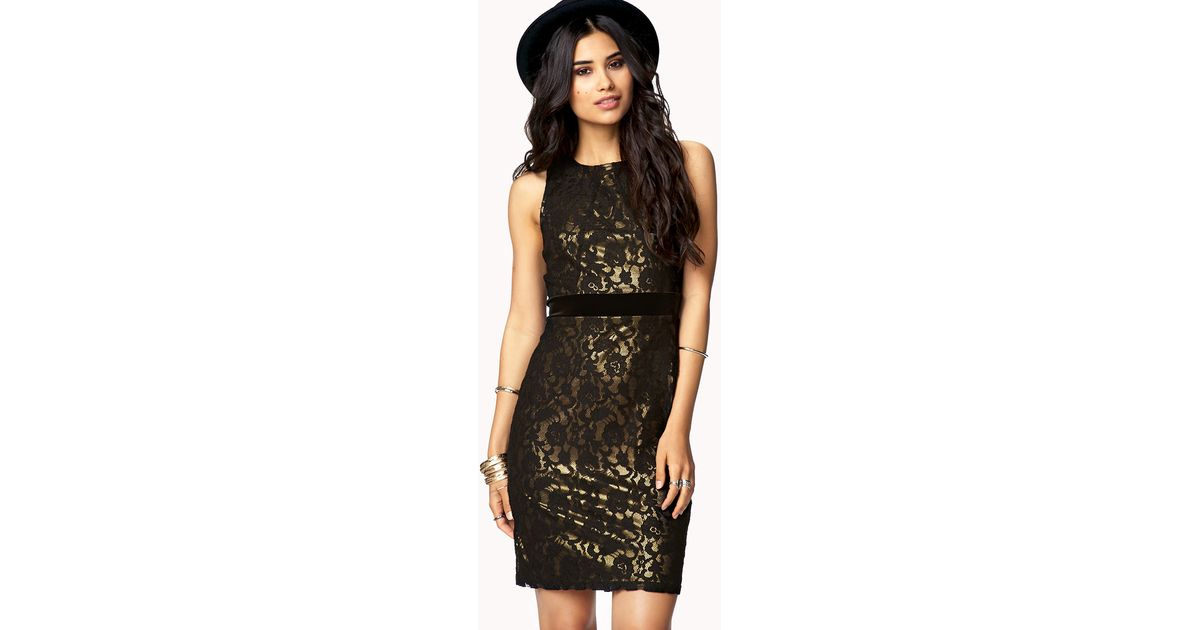 Lyst Forever 21 Essential Lace Sheath Dress In Metallic