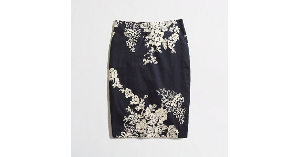 773790e12 J.Crew Factory Pencil Skirt in Embroidered Floral in Blue - Lyst