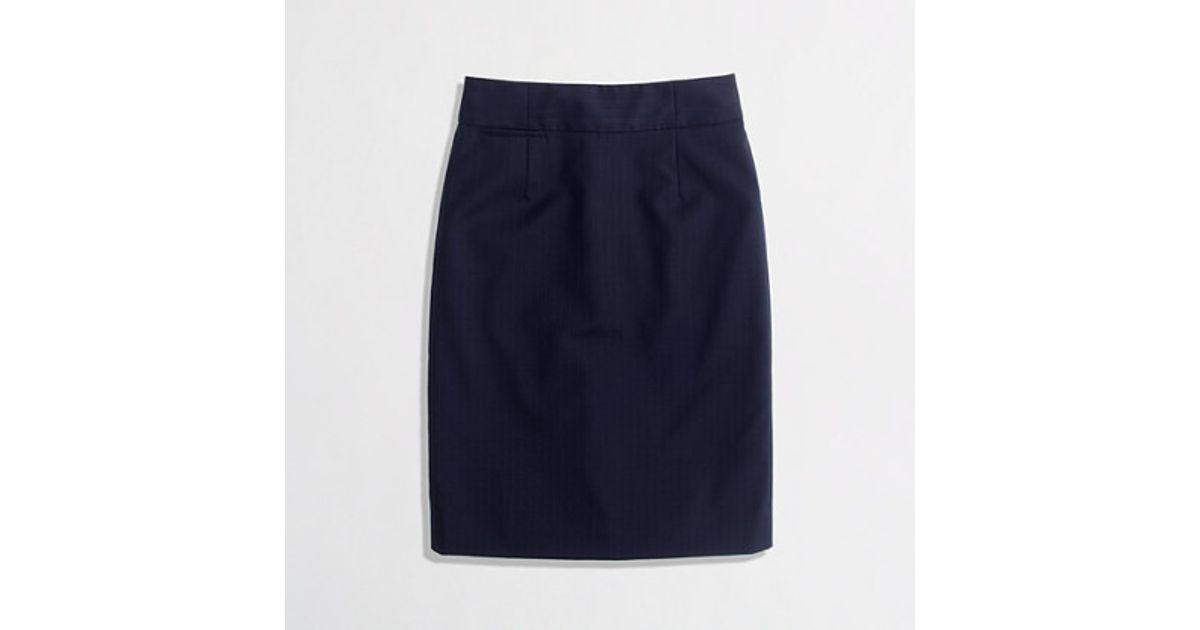 6b8eb47914 J.Crew Factory Pencil Skirt in Pinstripe Wool in Blue - Lyst