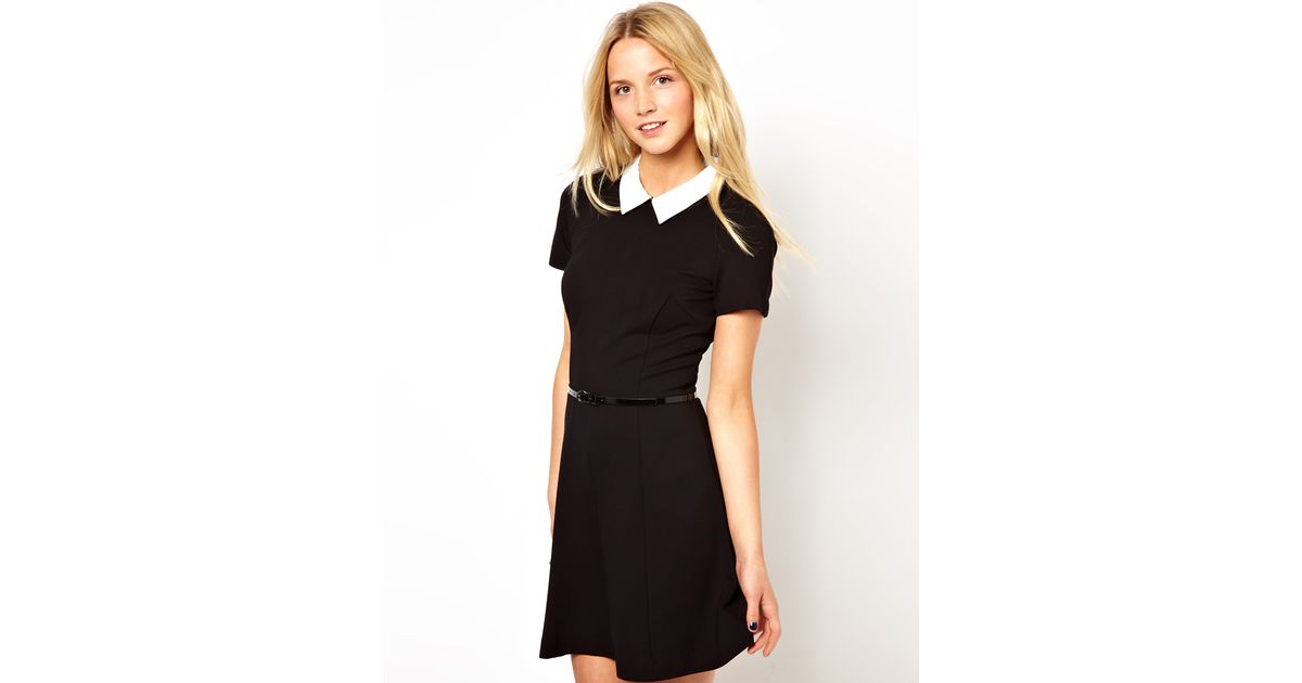 4618e37cb4d7 Lyst - French Connection Belted Skater Dress with Contrast Collar in Black