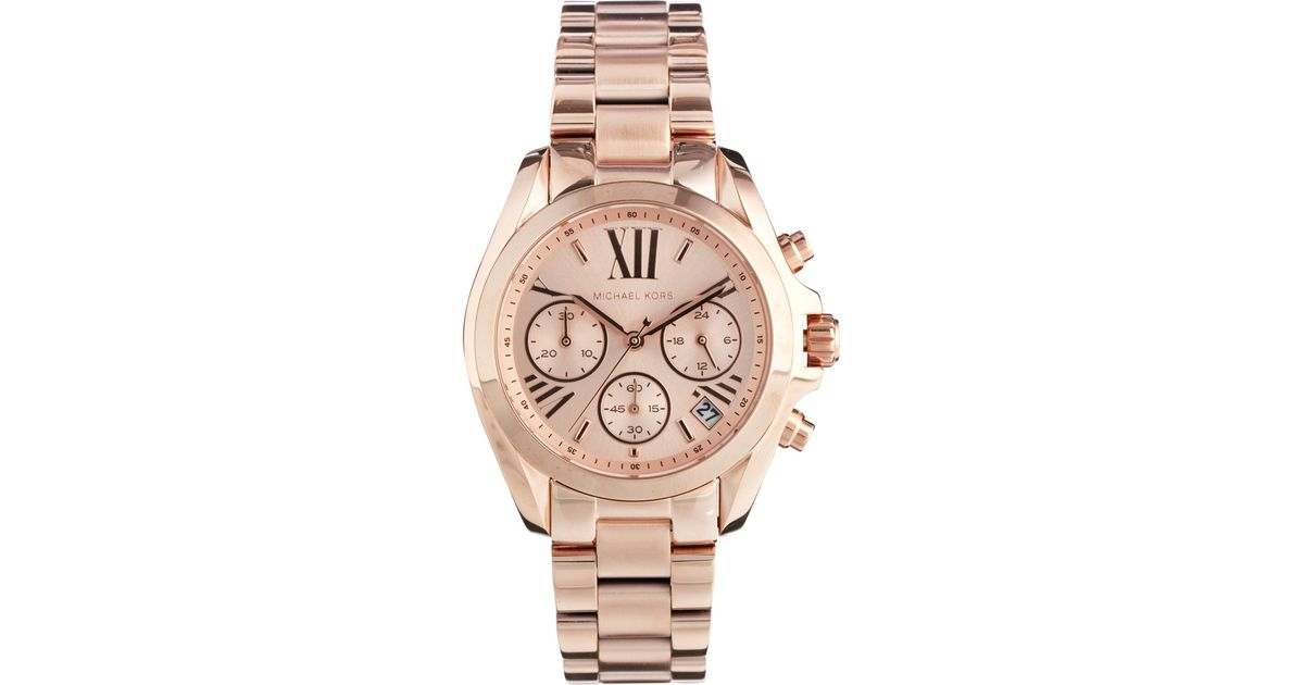 06a7df64f77a Lyst - Michael Kors Bradshaw Mini Rose Gold Chronograph Watch in Pink