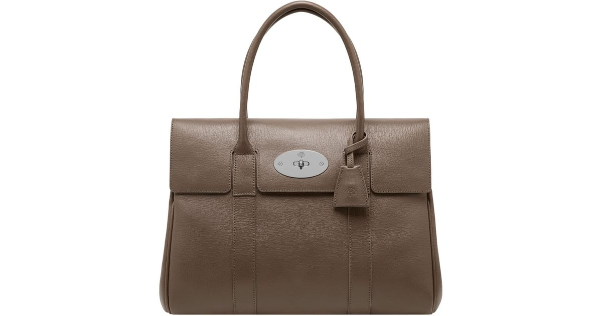 0d8b15f231aa Lyst - Mulberry Taupe Leather Bayswater Top Handle Satchel in Gray