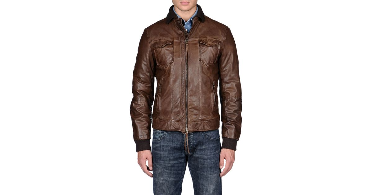 Armani Jeans Leather Jacket In Brown For Men Lyst
