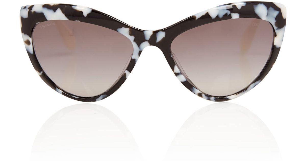 Lyst - Miu Miu Black and White Acetate Cat Eye Sunglasses in Black