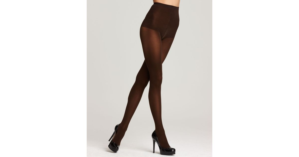 a225b4050b8 DKNY Tights Basic Opaque Coverage Control Top in Brown - Lyst
