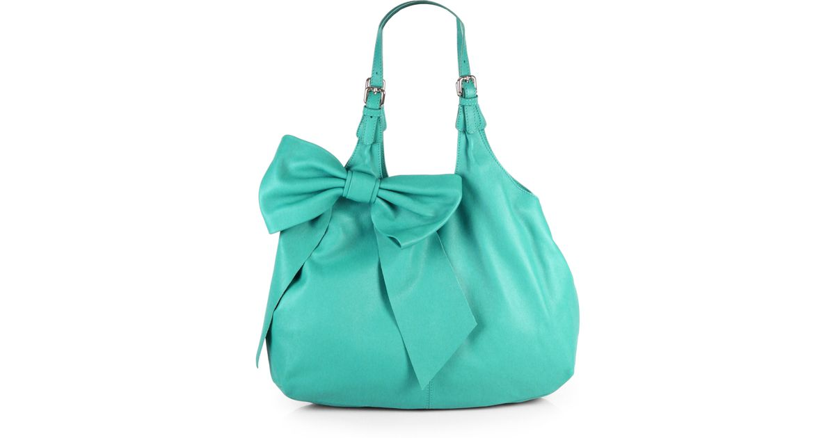 Red valentino Bow Hobo Bag in Green | Lyst