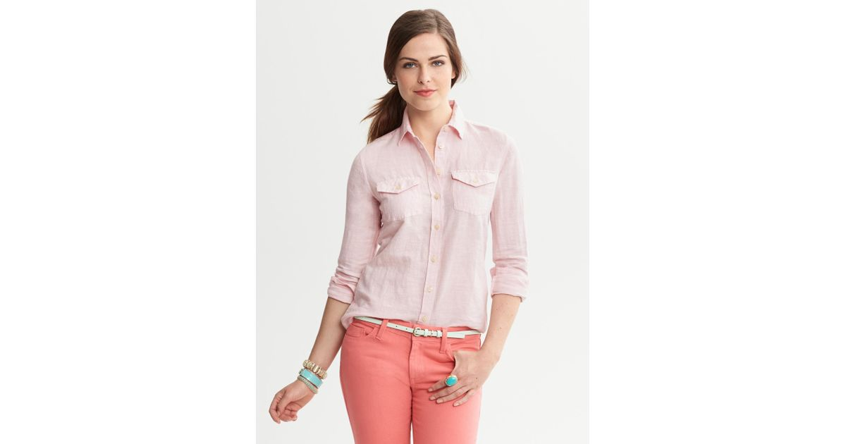 03f2c9e0100 Lyst - Banana Republic Soft Wash Linen Cotton Shirt in Pink