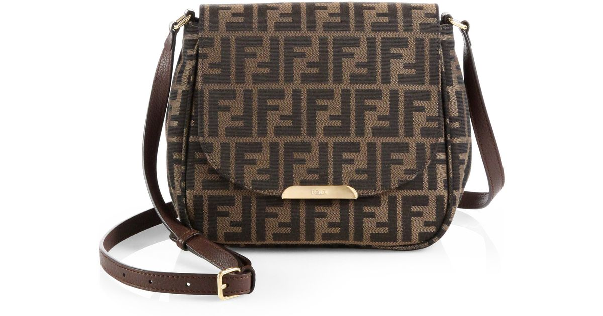 c4db629f7c69 ... discount lyst fendi zucca forever shoulder bag in brown b312f 433a8