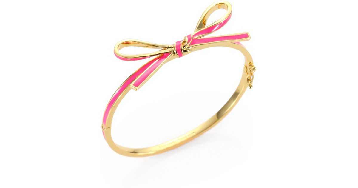 Lyst Kate Spade New York Skinny Mini Enamel Bow Bangle Bracelet In Pink
