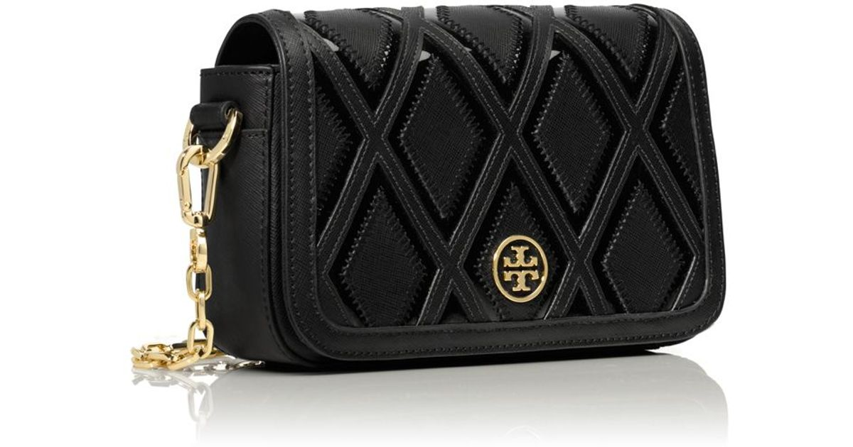 a19366f1c9d3 ... new zealand lyst tory burch robinson patchwork chain mini bag in black  dc6ab 7a7d4