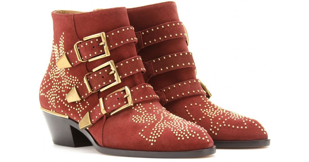 d5d23beea9d5 Lyst - Chloé Susanna Studded Leather Buckle Ankle Boots in Red