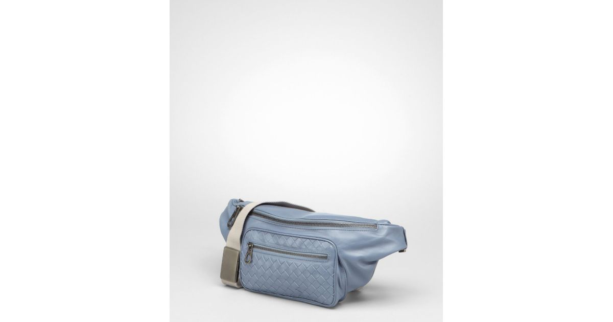 Bottega Veneta Krim Stone Intrecciato Light Calf Belt Bag in Blue for Men -  Lyst 24ee3ae3677f0