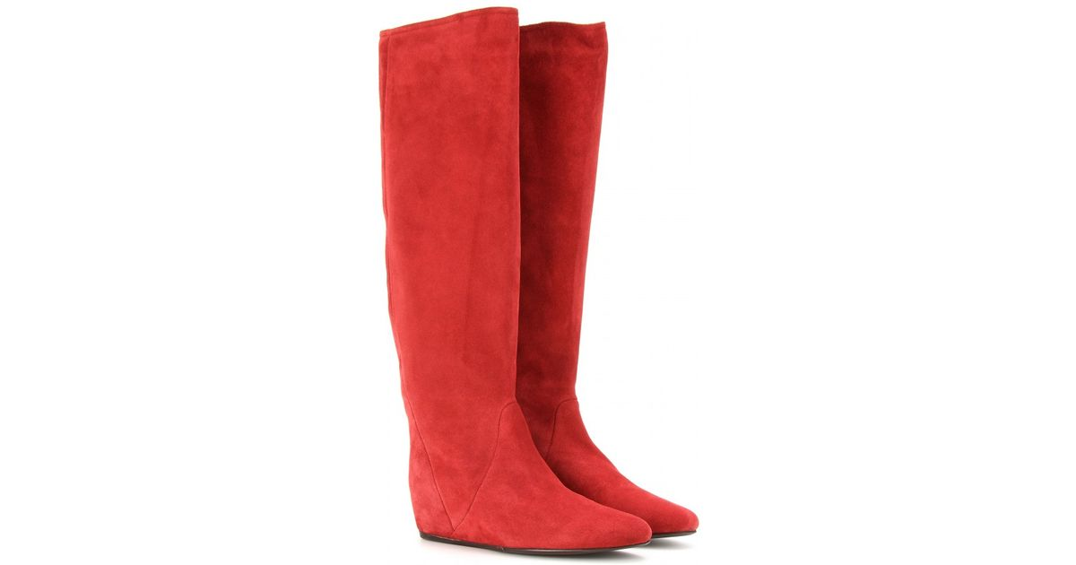 693ae830cc9d Lyst - Lanvin Suede Concealed Wedge Boots in Red