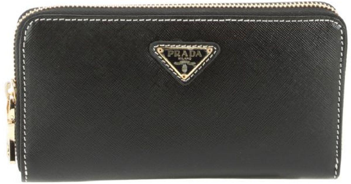 Prada Saffiano Ziparound Continental Wallet Triangle Logo ...