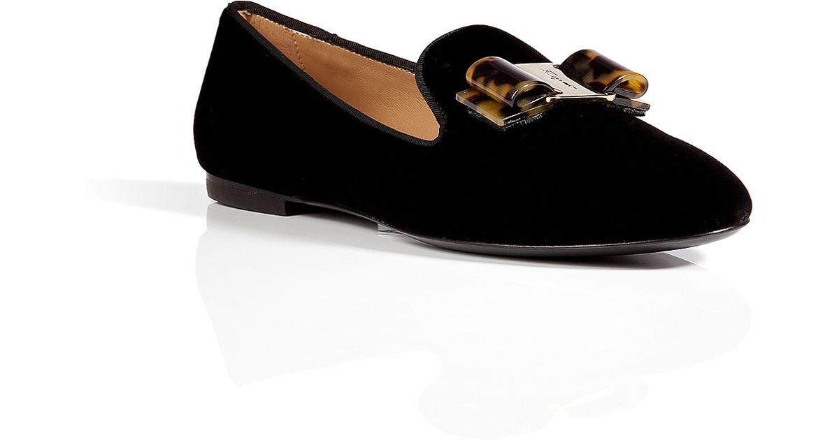 3272558449e Lyst - Ferragamo Velvet Scotty Slipper style Loafers in Black