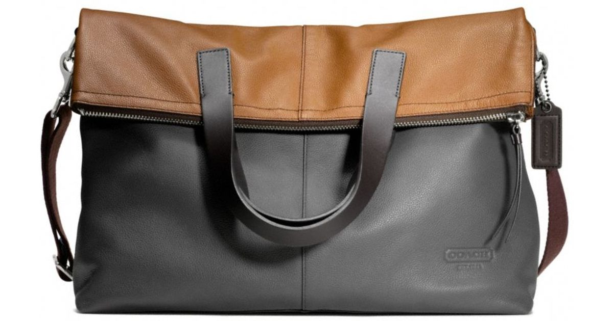 Lyst Coach Thompson Foldover Tote In Colorblock Leather Black For Men