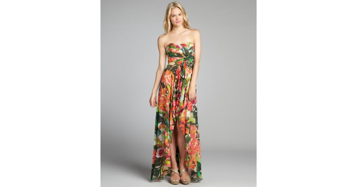 Lyst - Nicole Miller Tan Floral Print Chiffon Angie Strapless Gown