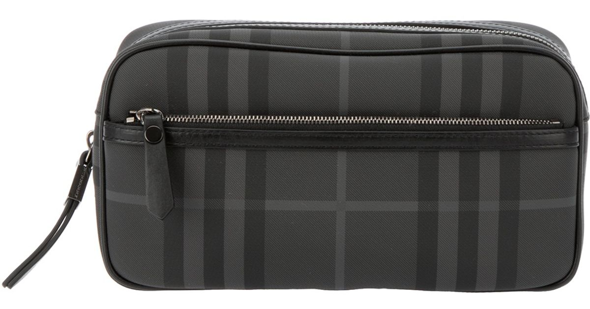 Burberry Brit - Gray Checked Wash Bag for Men - Lyst 6e785b3438c05