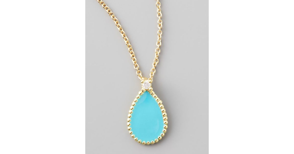 8c5fbf75fb8a Roberto Coin Yellow Gold Diamond Turquoise Teardrop Pendant Necklace in  Yellow - Lyst