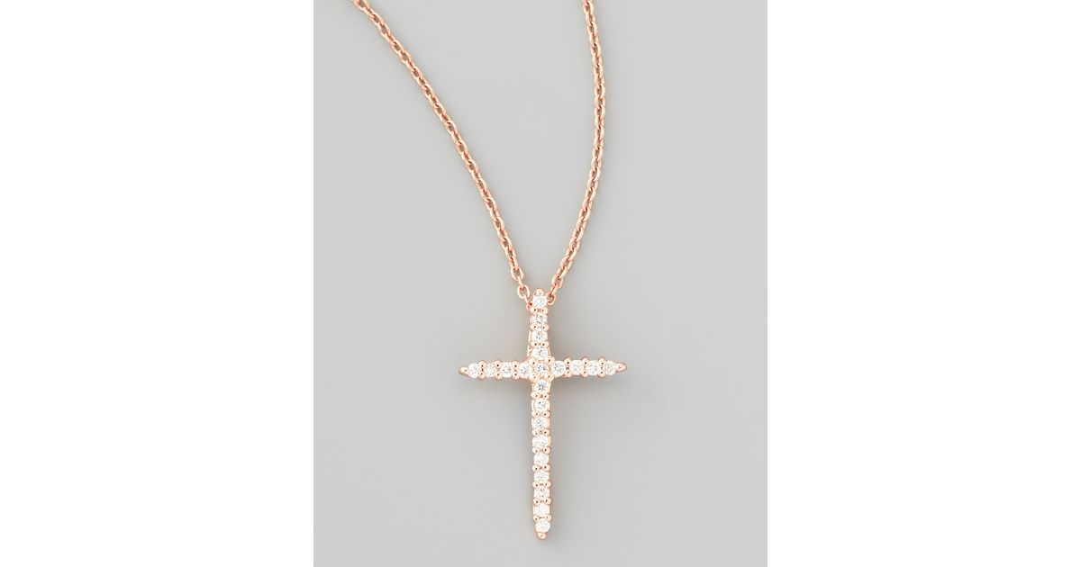 Lyst roberto coin 18k rose gold diamond cross necklace in pink aloadofball Images